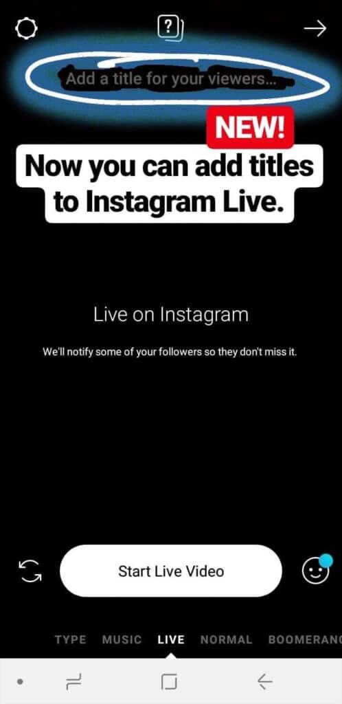 Instagram Live Title